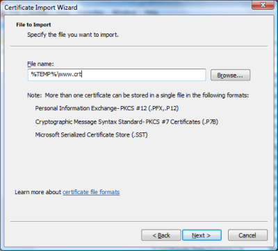 MMC certificate import wizard