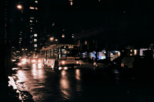 Late night February 2013 in midtown Manhattan shot with an Olympus Trip 35